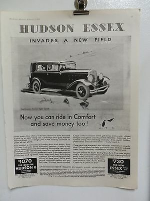 "Old 1931 Hudson Essex Advertising Print Ad. Cars Automobiles. 14"" X 11"""