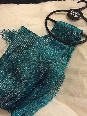 Ladies Women's Scarf Various Designs BRAND NEW Turquoise Glitter