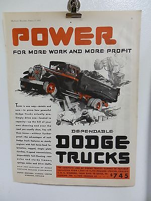 "Vintage 1931 Dodge Trucks  Advertising Print Ad. Cars Automobiles. 14"" X 11"""