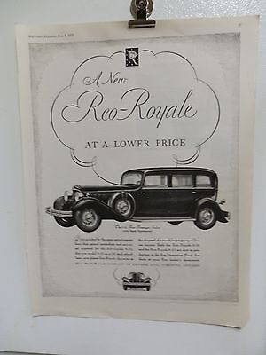 "Old 1931 Reo-Royale Advertising Print Ad. Cars Automobiles. 14"" X 11"""