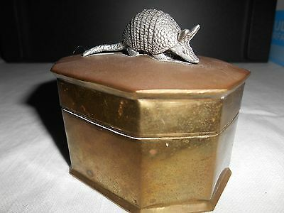 Vintage Brass And Pewter Armadillo Trinket Box