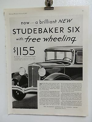 "Old 1931 Studebaker Six Advertising Print Ad. Cars Automobiles. 14"" X 11"""