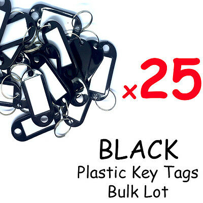 Plastic Key Tags x25 Bulk Lot BLACK -  ID TAGS -  Keyring Keychain Bulk