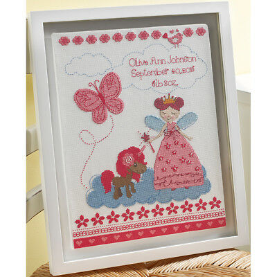 "Fairytale Princess Birth Record Counted Cross Stitch Kit-10""X13"" 14 Count 47665"