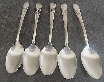 5  BELOVED SILVER PLATE SOUP OR PLACE SPOONS, Wm ROGERS 1940