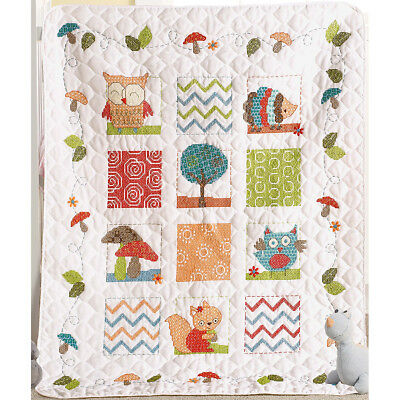 "Woodland Baby Crib Cover Stamped Cross Stitch Kit-34""X43"" 46186"