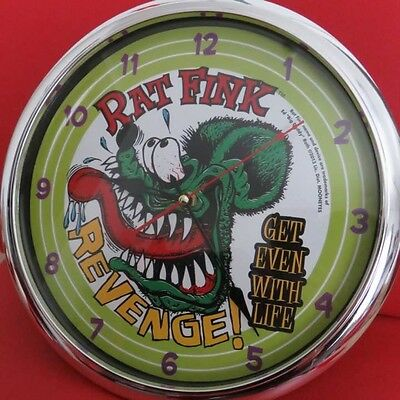 Used! Excellent! Rat Fink Wall clock  RAT FINK With box pretty good
