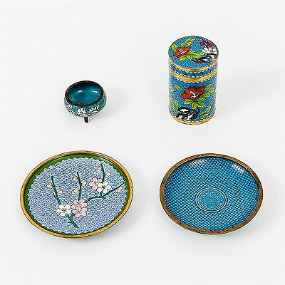 Lot of 4 Vintage Chinese Cloisonne Blue Brass & Enamel Items Box, Dishes & Pot