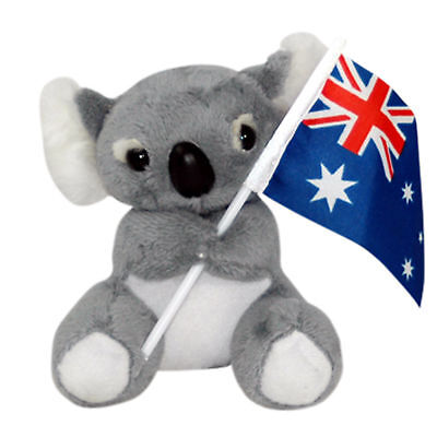 JUMBACK GREY KOALA WITH FLAG STUFFED ANIMAL PLUSH TOY 13cm **FREE DELIVERY**