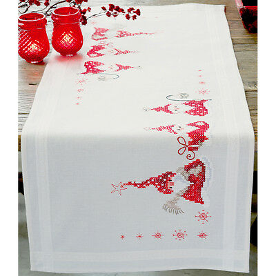 "Gnomes Christmas Table Runner Stamped Embroidery Kit-16""X40"" V0146077"
