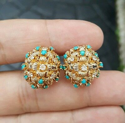 Stunning Pair of DIAMOND and TURQUOISE Solid 14k GOLD Earrings Vintage