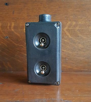 Vintage Industrial Cast Iron light switch Wallsall 2 gang stripped restored 3