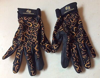 Youth Size 5 Heritage Performance Shoe Riding Gloves Equestrian Horseshoe Print