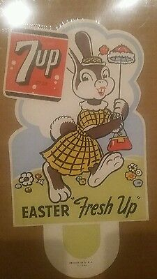 Vintage Seven Up 7 Up Cardboard Paper Display Sign Advertising 1951
