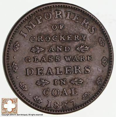 1837 E.F. Sise & Co. Importers Of Grocery / Classware Coal Hard Times Token *543