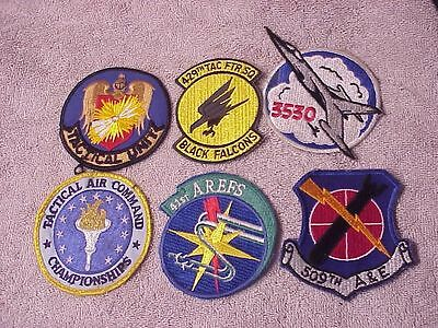 Original Lot Of 6 Vintage Usaf Squadron Type Patches From Estate