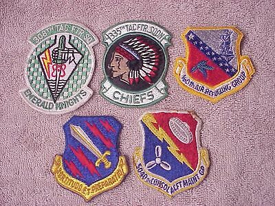 Original Lot Of 5 Vintage Usaf Squadron Type Patches From Estate
