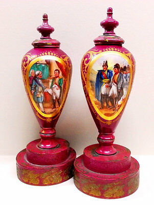 French Napoleon Urns Hand Painted Magenta Military Scene Porcelain Gilded Eagle