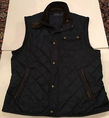 Polo Ralph Lauren Blue Quilted Hunting/Equestrian Vest Men's Size Large