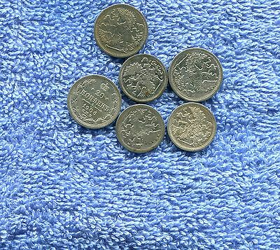 Russia Lot Of 6 Old Silver Coins Early 1900S Nr 8.95
