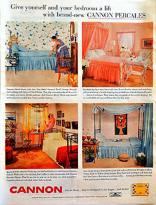 Vintage 1956 Cannon percale sheets retro bedroom advertisement print ad art
