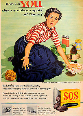 Vintage 1956 S.O.S. magic scouring pads housewife advertisement print ad art