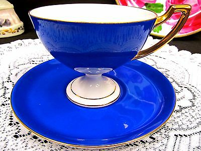 German Tea Cup And Saucer Footed Germany Blue & Gold Teacup Tall Deco Handle