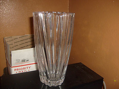Vintage Bohemian crystal Glass Vase Thick glass 11 1/2 tall 6 pounds