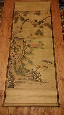 "Old Chinese Decorative Scroll, Birds, Flowers 58"" x 25"""