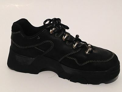 Skechers Work Safety Shoes Black Heavy Duty Leather Lace Up Mens Size 9