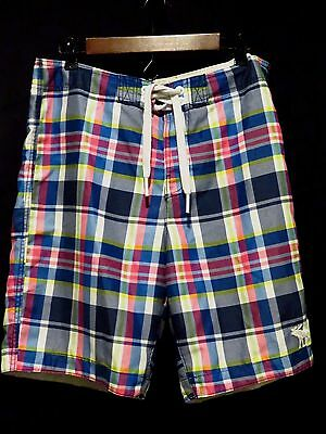 Abercrombie & Fitch Mens Size Large Swim Trunks Board Shorts Cheerful Plaid