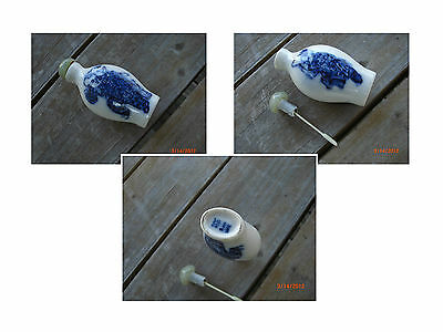 Vintage Chinese Blue Porcelain Signed Snuff Bottle with Green Jade Stopper