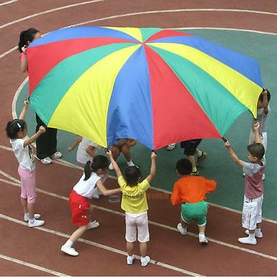 2M 8Handles Children Kid Play Rainbow Parachute Outdoor Game Exercise Sports Toy