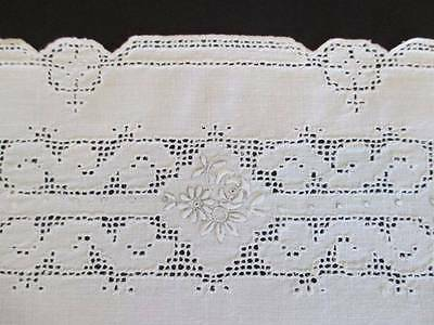Linen Tea Tray Mat Italian Lace Mosaic Punch Work Embroidered Roses Centerpiece