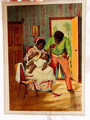 1870s-1880s Victorian Trade Card Black Americana Man Trumpet Wife Baby #C