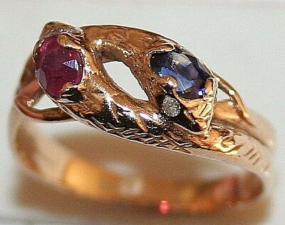 ANTIQUE VICTORIAN 14k GOLD SAPPHIRE RUBY DIAMOND 2 INTERTWINED SNAKE LUCKY RING
