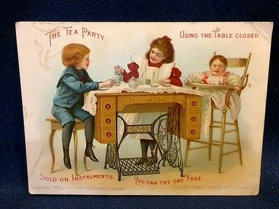 Singer Sewing Machine Victorian Trade Card Tea Party Cabinet Table Weissport PA