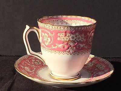 Crown Staffordshire Footed Cup & Saucer ELLESMERE PINK - Flowers & Griffins