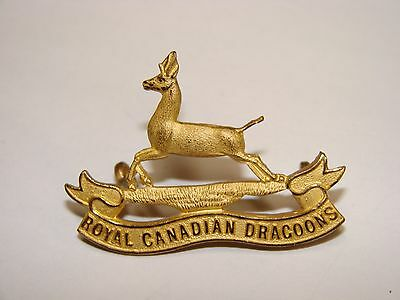 Canadian WW2 Officer's Cap Badge, The Royal Canadian Dragoons, gilt die cast