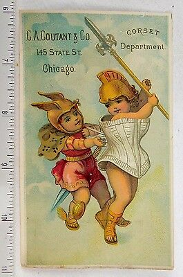 Adorable C.A. Coutant & Co, Chicago, Corset Department Cherubs Minerva Card F53