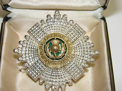 Officer's Forage Cap Badge The Scots Guards, silver with green enamek and gilt