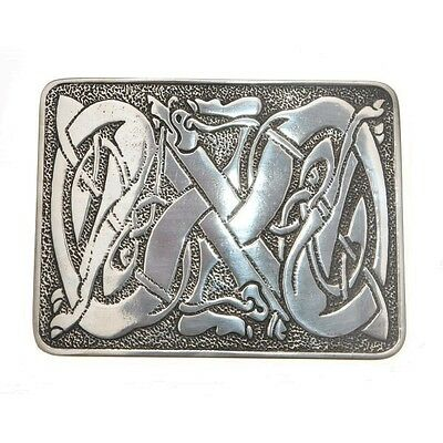 Celtic Dog Deluxe Pewter SCOTTISH KILT BELT BUCKLES CHROME FINISH BOYS AND MEN
