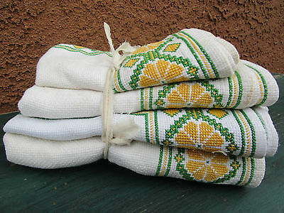 Set Of 4 Vintage Hand Embroidered Runners & Place-mats Geometric Green Yellow