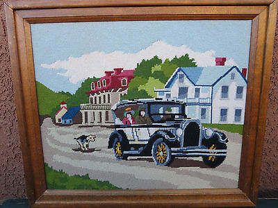 Vintage Needlepoint Framed Wall Art Handmade Stitched Embroidery Car Dog Town