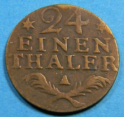 Germany Prussia Silver 1782 A 1/24 Thaler Coin   KM# 296