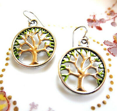 Tree of Life Hand Painted Charm Earrings Tibetan Silver