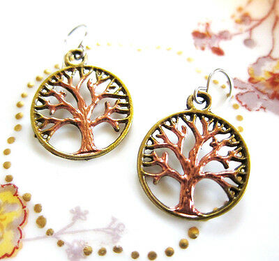 Tree of Life Filigree Hand Painted Charm Earrings on Bronze