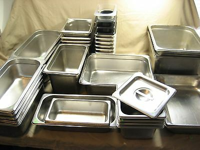 37 Stainless Steel Restaurant Steam table Insert trays + 4 plastic liners