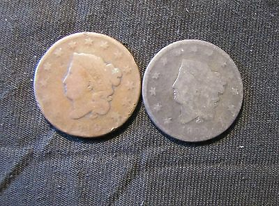 Lot of 2 Coronet Head Large Cents - 1819 & 1822