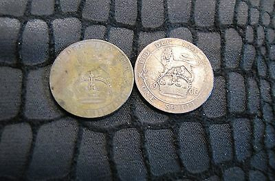 Lot of 2 Great Britain Silver Shilling Coins - 1906 & 1924